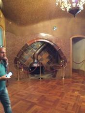 The iconic mushroom shaped sitting area with a wood burning stove