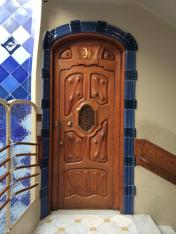 A carved door