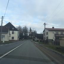 cutting through a small village.
