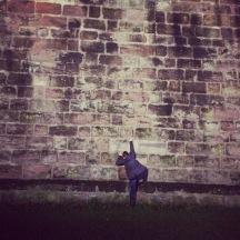 Me, pretending to climb out